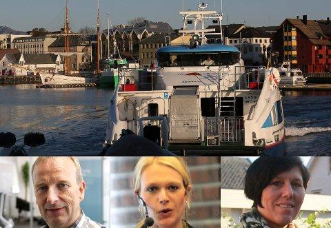 Gustav Johan Nydal, Randi Humborstad og May Britt Bratseth krev betre båtruter Florø-Kalvåg-Måløy.