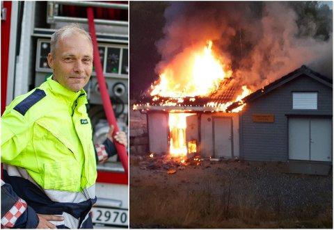 BRANN I KRAFTSTASJON: Vakthavande brannbefal i Gloppen brann og redning, Arne Mykland er fornøgd med ordninga om samarbeid mellom bønder og brannvesenet i sommar. Måndag kveld brann delar av Breidalselva kraftstasjon ned, men på grunn av regn og bønder som var tidleg på staden, spreidde ikkje brannen seg vidare.