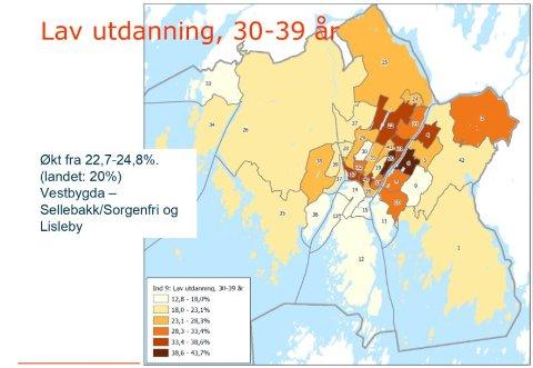 Dette kartet viser innbyggere i alderen 30-39 år som ikke har utdanning utover grunnskolen. Jo mørkere farge, jo flere med lav utdanning.  Illustrasjon: Fredrikstad kommune