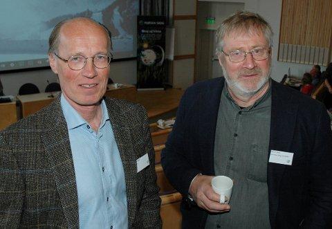 FUSJON?: Styrelederne i Mjøsen Skog, Terje Uggen (t.v.), og i Glommen Skog, Ole Th. Holt, planlegger en fusjon, eller er det mer presist at Glommen i realiteten overtar Mjøsen?