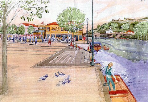 LIV PÅ TORGET: Denne illustrasjonen mener Halden Arkitektkontor bør inspirere til videre utvikling av Fisketorget.