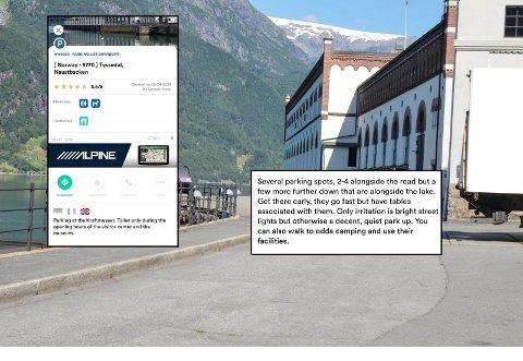Tips: Her tipsar turistar kvarandre om parkeringsplassar og kor dei kan bruke gratis fasilitetar, mellom anna ved Kraftmuseet i Tyssedal, og nær Odda Camping.