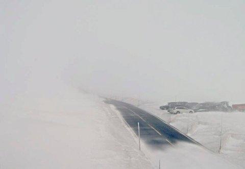 Dyrenut  20160319. Lørdag ettermiddag er Hardangervidda stengt for små kjøretøy. Slik ser det ut på riksvei 7 ved Dyrenut. Det er kolonnekjøring for biler over 7,5 tonn.  Foto: Statens vegvesen Webkamera / NTB scanpix