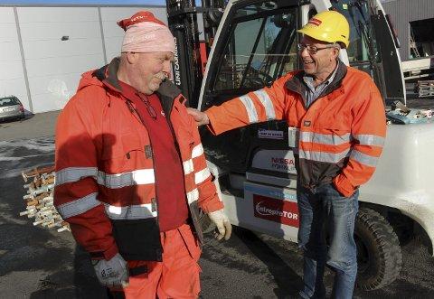 Gode BUSSER:  Jan Øystein Nilsen har gitt fra seg ledelsen av Entrepretor, men er fortsatt styremedlem i selskapet. Her sammen med en annen veteran – Per Drevland. BILDER: Rune Pedersen
