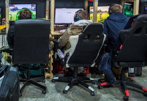 POPULÆRT: Gamingrommet på biblioteket i Holmestrand har vært et populært og kjærkomment tilbud blant ungdom i byen. Nå er det mange som ønsker å få slike spillrom i Sande og Hof også.