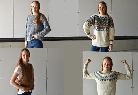 FAVORITTER: Den grå genseren var den første Guro strikket. Deretter har hun stadig laget seg nye plagg.