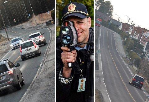 KONTROLLER: Osloveien (t.v.) og Dyreveien (t.h.) er to av de mange veiene hvor dere opplever at mange tråkker hardt på gassen. Bilene som er blitt avbildet her kjørte ikke for fort.