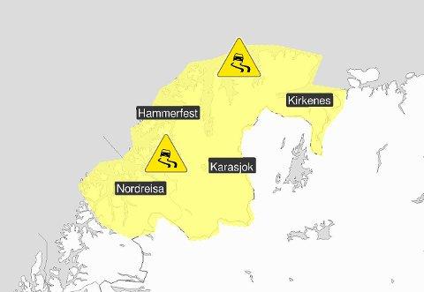 BEREGN GOD TID: I Finnmark og nord i Troms ventes det glatte kjøreforhold på gult - moderat - farenivå.