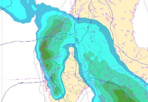 SNØ: Dette frontstystemet tar med seg noe nedbør onsdag kveld og torsdag morgen.