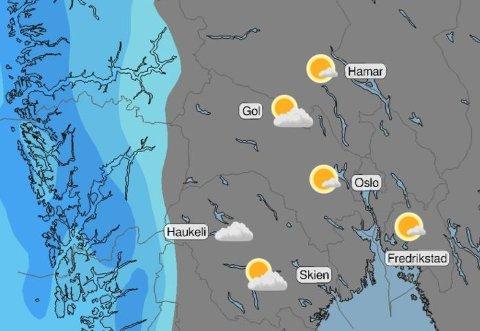 Meteorologene har postet dette bildet på Twitter. Ser ut som hele Østlandet får en knallfin lørdag.