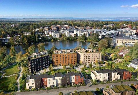 SALGSTART: 15. juni legges de 19 første leilighetene ut for salg her i Veslebukta på Kolbotn.