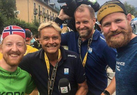 Eivind Augestad Larsen og Jonas Langerød Rugtvedt med Dag Otto Lauritzen ved Bourg d'Oisans.