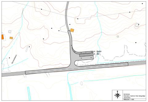 Kartet viser hvordan det skal bygges parkeringsplasser både for buss og biler ved alpinanlegget i Bleikvassli.