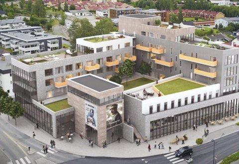 Byggeplaner: Midtbyen Palë er en av mange store byggeprosjekter som er presentert i Brumunddal i 2017. Over totalt 11.428 kvadratmeter vil Høyen Eiendom bygge fire kinosaler, bed & breakfast, cirka 45 leiligheter, restaurant, parkeringshus og stor hage på taket.