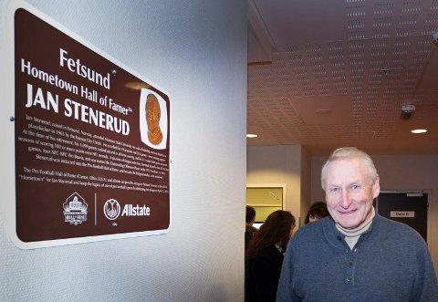 MARKERING: Jan Stenerud var tilstede da han ble hedret i hjembygda Fetsund i 2014.