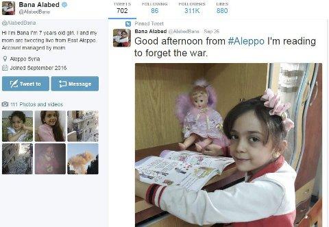 BANAS (7) ROP FRA ALEPPO: Bana al-Abed (7) bor i Øst-Aleppo. Nå er de fanget mellom frontene. Skjermdump: Twitter.com