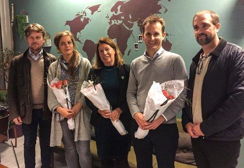 KANDIDATER: De fem øverste kandidatene til Venstre ved kommunevalget 2019. Fra venstre: Fritz Henrik Frølich, Camilla Johannesen, Karin Virik, Peder Sunde og Thomas Blix.