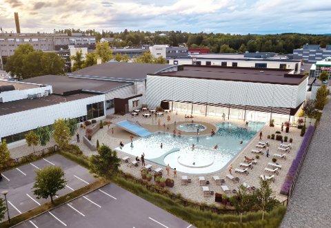 Slik blir det nye utendørsanlegget til Østfoldbadet når det står ferdig om noen uker.