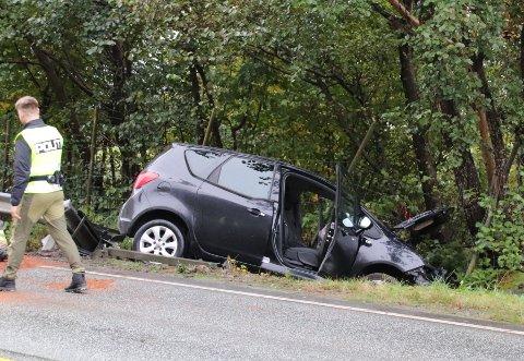 UTFOR: Bilen havnet i grøfta på den rette strekningen mellom Barka og Grønevoll på fylkesveien mellom Solbakk og Jørpeland.