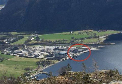 ATTRAKTIVT: Rådmannen meiner Melsøyrane industriområde ved sjøen og Svadberg industriområde (heilt til venstre i bildet) blir meir attraktive med ny kai. Og i fjellet i bakgrunnen skal i tillegg Årdalstunnelen ein gong bryta ut i dagslyset.