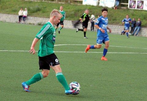 KJEMPEKAMP: Mats Færseth scoret syv av syv Tollnes-mål i kampen mot Sannidal mandag. Bildet er tatt da Færseth spilte i Hei forrige sesong. FOTO: STIAN KITTILSEN, PD