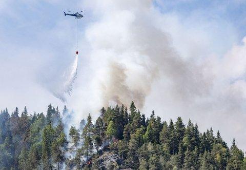 TA DET PÅ ALVOR: Skogbrannhelikoptre har måttet hjelpe til for å slokke branner en rekke steder i sommer. Nå er brannvesenet frustrert over at folk ikke tar den ekstreme skogbrannfaren på alvor.