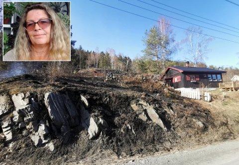 Brant ned: Nesten tre mål av eiendommen til Karin og Roy Gravningen brant 18. april etter at gnister fra et tog startet flere branner. Hytta ble så vidt reddet, men det meste av skogen brant.