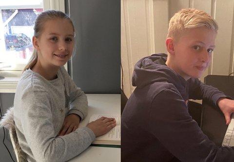 HJEMMESKOLE: Emilie og Jan Olav er elever i sjette klasse på Høgås skole.