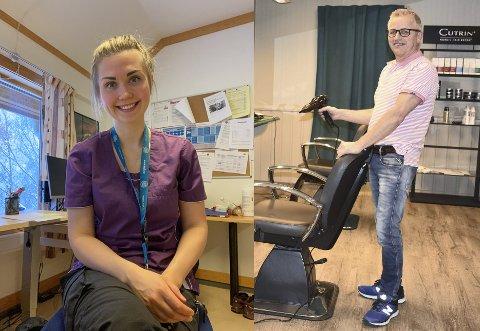 Sykepleier Maren Ødegaard Hvitmyhr (28) og frisør Morten Austdal (56).