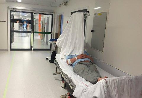 ERKJENNELSE: Sykehuset på Kalnes hadde tidligere ikke skjermbrett for pasienter som havnet i korridoren, fordi man ikke ville akseptere at de skulle ha pasienter på gangen. Etter hvert er det klart at man ikke blir kvitt problematikken, og skjermbrett er kjøpt inn.