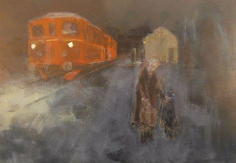 Øyvind Ødegård har malt bilde fra togstasjonen på Orvos. Han er født og oppvokst på Ophusbakken på Orvos, og er idag pensjonert landmåler og bor på Ås. Har tegna så lenge han kan huske, og maler ofte minner fra barndom og ungdom.