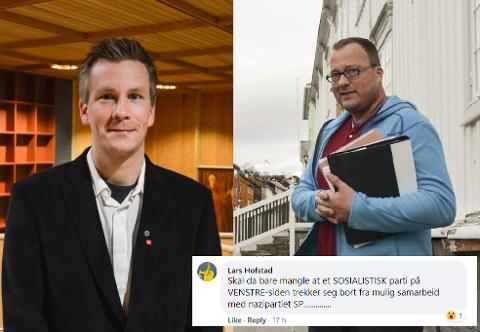 """REAGERER: Leder i Røros Sp, Stein Petter Haugen, sier det er sterke reaksjoner på at nettsjef i Ren Røros, Lars Hofstad, kalte partiet for """"nazipartiet"""" på Facebook."""