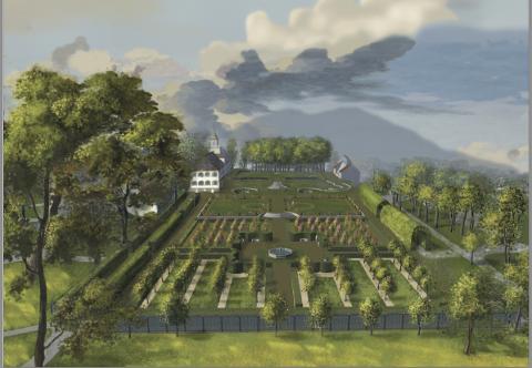 DRØM: Slik kan barokkhagen utenfor Frogner hovedgård ha sett ut på 1700-tallet. Den var etablert etter franske forbilder med snorrette hekker, bueganger og bed som så ut som broderier.