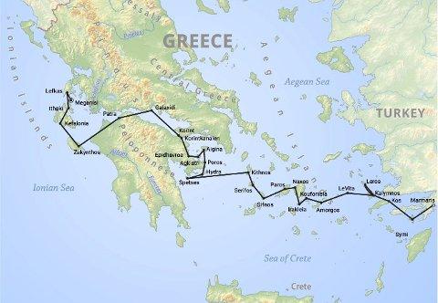 Store opplevelser: En grov illustrasjon over reiseruten vår på seiltur. Her var distansen sekundær og eventyret underveis primær!