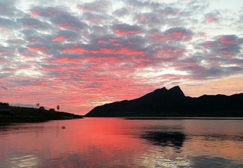 VARMT OG NYDELIG: Dette bildet ble tatt av en leser ved Engavågen i Meløy kommune, sent i går kveld.