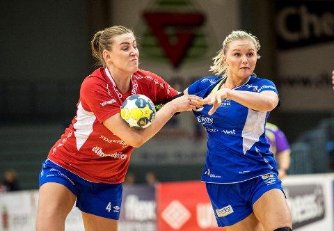 Byåsen og Emilie Hegh Arntzen (t.v.) ble for sterke for Tertnes og Birgitte Karlsen-Hagen i første kvartfinale av sluttspillet. (Foto: Eirik Hagesæter)