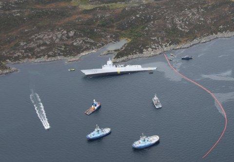 Her ligger båten som i sin tid kostet fire milliarder kroner.