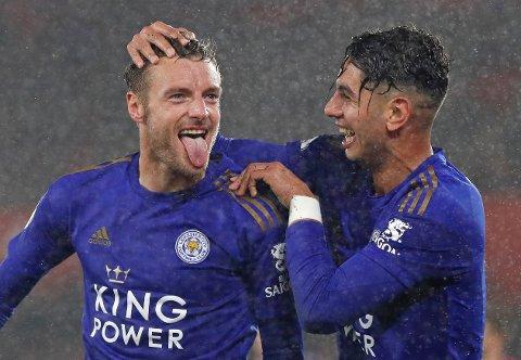 Jamie Vardy (t.v.) har scoret 18 mål på 20 Premier League-kamper siden Brendan Rodgers overtok Leicester.