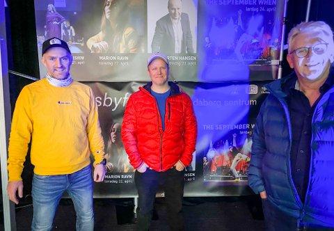 Trio: Per-Erik Haga i PS Selskapsutleie, Morten Andersen i Alive produksjoner og Svein Sørnes i Landsbyforeningen.