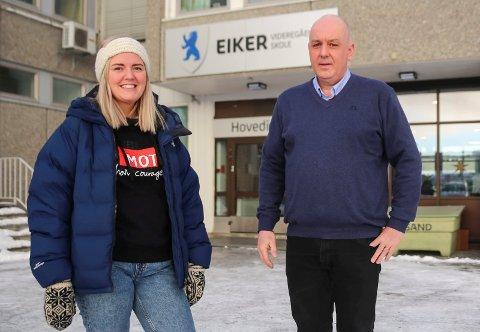 Anne Marthe Kvale, leder vekst, MOT Norge, og rektor ved Eiker VGS, Jan Helge Russnes.