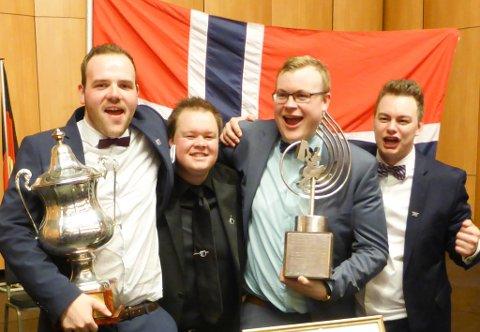 F.v. Kristian Grotle, Vegard Sole Sundal frå Kjølsdalen (s-kornett), Erlend Brandsøy, Florø/Solund og Kim Systad frå Lavik (perkusjon).
