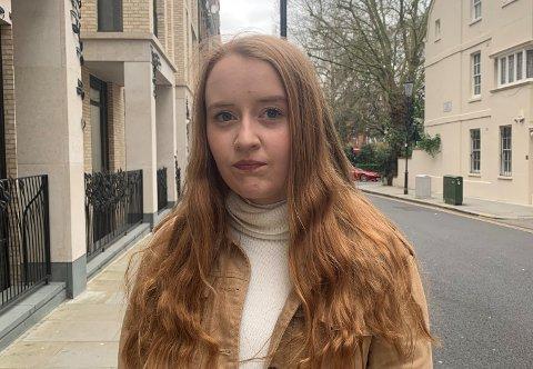 UTANLANDSSTUDENT: Edwina Ann Kronen Rossi (20) frå Florø studerer ved Imperial College i London. No kan ho reise heim i staden for å bli i Storbritannia under korona-utbrotet.