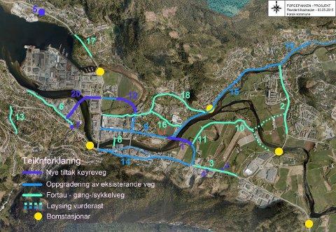 VIKTIG: Førdepakken er altfor viktig for Førde og Sunnfjord kommune til at vi kan sette den i spel ved å rokke ved strukturen og heilskapen, gruppeleiarane i fire parti og ordførar i Sunnfjord, Olve Grotle i artikkelen. Bildet viser .Førdepakken er ein sentrumsutviklingspakke med side 20 tiltak.