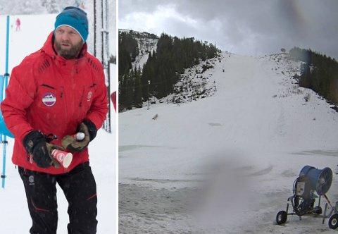 SPESIELT: Driftsleiar Sturle Angedal ved Sunnfjord skisenter synest det er trist at ein skulle få eit 30 graders temperaturskilje rett før vinterferien.