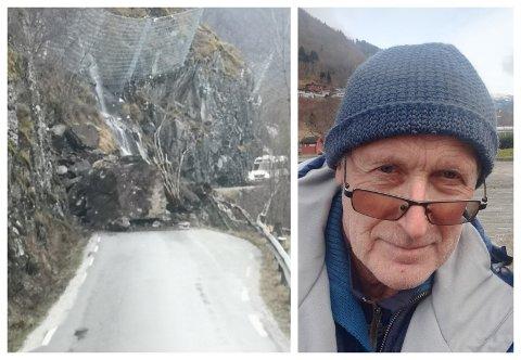 SKREKKEN: Jens Brekke køyrde minibussen på biletet til venstre. Han kom før røyken etter raset hadde lagt seg, og slapp med skrekken.