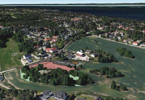 HER SKAL DET BYGGES: Det er ved Andersrødveien i Saltnes at den nye barnehagen vil bli satt opp. Navnet blir Kollen naturbarnehage – på grunn av beliggenheten rett inntil en liten kolle.