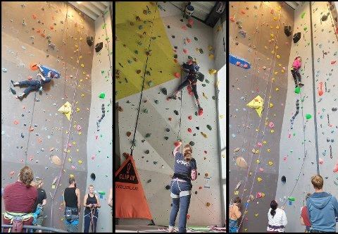 Utøvere i alle aldre fikk testet seg på nye ruter i klatreveggen  på RedPoint Klatresenter.