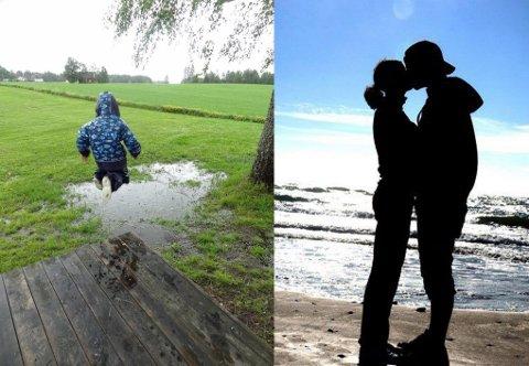 STEMNINGSFULLE ØYEBLIKK: Begge disse bildene har deltatt i konkurransen tidligere. Silhuetten av paret vant sommerens blinkskudd i 2013.
