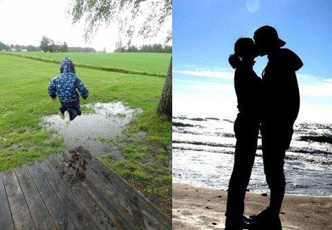 STEMNINGSFULLE ØYEBLIKK: Begge disse bildene har deltatt i konkurransen tidligere. Silhuetten av paret vant sommerens blinkskudd i 2013. Foto: Unni Myhrer (hoppende barn) og Vibeke Instanes (kyssende par)