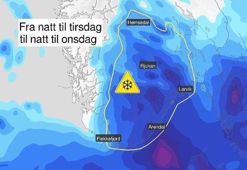 MYE SNØ: Det er ute gult farevarsel for mye snø flere steder i Sør-Norge tirsdag. Foto: (Meteorologisk institutt/Yr)